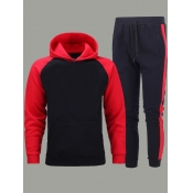 lovely Leisure Hooded Collar Patchwork Red Men Two