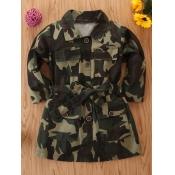 lovely Trendy Turndown Collar Camo Print Girl Trench Coat