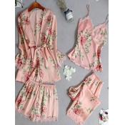 Lovely Cosy Plants Print Pink Sleepwear