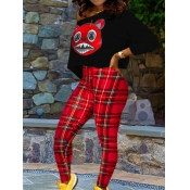 lovely Casual Cartoon Print Black Two Piece Pants Set