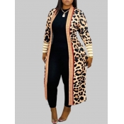 lovely Casual Leopard Print Plus Size Coat