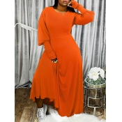 Lovely Casual Puffed Sleeves Loose Orange Maxi Dress