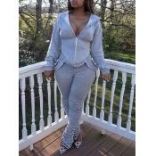 lovely Sportswear Hooded Collar Zipper Design Grey Two Piece Pants Set