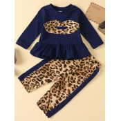 lovely Casual O Neck Leopard Print Patchwork Girl Two-piece Pants Set
