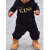 Lovely Sportswear Hooded Collar Letter Print Black Boy Two-piece Pants Set