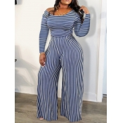 lovely Trendy Striped Blue One-piece Jumpsuit(Batch Striped Print)