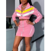lovely Sportswear Turndown Collar Patchwork Pink Two Piece Skirt Set