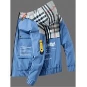 Lovely Street Hooded Collar Print Patchwork Blue Men Jacket