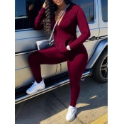 Lovely Casual Turndown Collar Zipper Design Wine Red Two Piece Pants Set