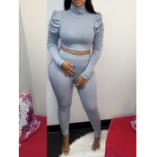 lovely Casual Turtleneck Fold Design Grey Two Piece Pants Set