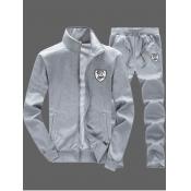 lovely Sportswear Zipper Design Grey Men Two-piece Pants Set