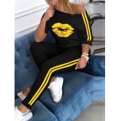 lovely Sportswear Lip Print Patchwork Yellow Two Piece Pants Set