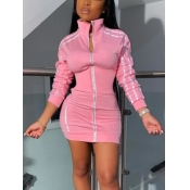 Lovely Sportswear Zipper Design Patchwork Pink Mini Dress