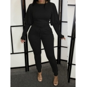 Lovely Leisure Puffed Sleeves Drawstring Black Two Piece Pants Set
