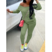 lovely Casual Basic Skinny Green Two Piece Pants Set