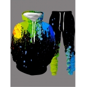 Lovely Casual Hooded Collar Graffiti Print Black Men Two-piece Pants Set