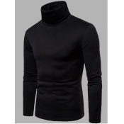 Lovely Casual Turtleneck Skinny Black Men Sweater