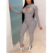 lovely Sportswear Striped Light Grey Two Piece Pants Set