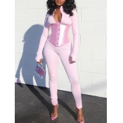 Lovely Sportswear Patchwork Pink One-piece Jumpsuit(Without belt)