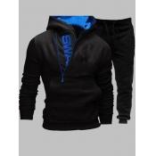 lovely Sportswear Hooded Collar Letter Zipper Design Black Men Two-piece Pants Set