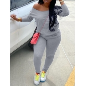 Lovely Casual Basic Skinny Grey Plus Size Two-piece Pants Set