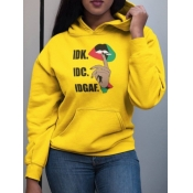 lovely Casual Hooded Collar Letter Print Yellow Hoodie