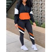 lovely Sportswear Dropped Shoulder Sleeve Patchwork Black Two Piece Pants Set