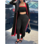 lovely Casual Patchwork Black Three Piece Pants Set