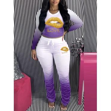 LW Sportswear O Neck Lip Print Fold Design Purple Two Piece Pants Set