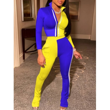 LW Sportswear Turndown Collar Zipper Design Patchwork Blue Two Piece Pants Set