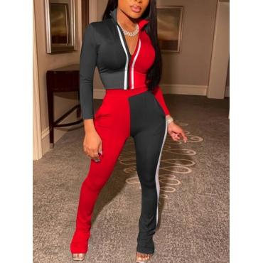 LW Sportswear Turndown Collar Zipper Design Patchwork Black Two Piece Pants Set