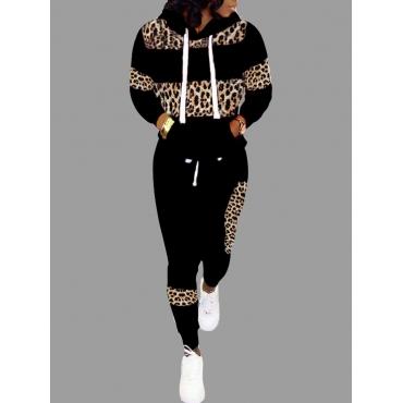 LW Casual Patchwork Black Two Piece Pants Set