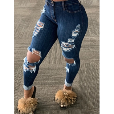 Lovely Stylish Broken Holes Blue Plus Size Jeans