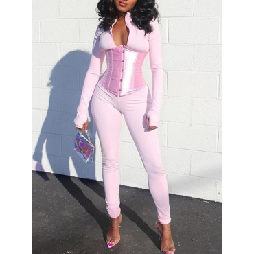 Lovely Sportswear Patchwork Pink One-piece Jumpsui