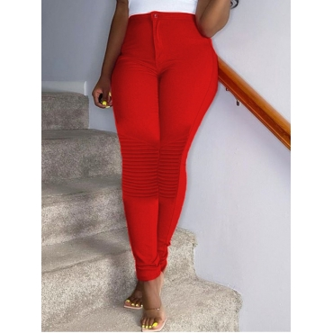 Lovely Casual Patchwork Skinny Red Pants