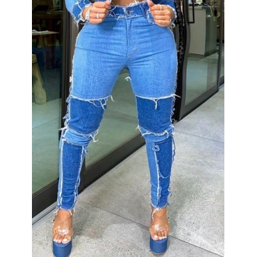 Lovely Casual Patchwork Blue Plus Size Jeans