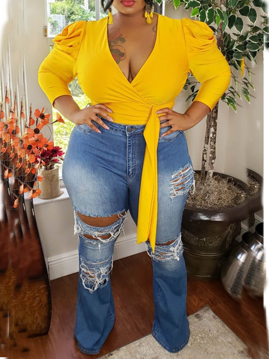 Lovely Casual V Neck Lace-up Yellow Blouse