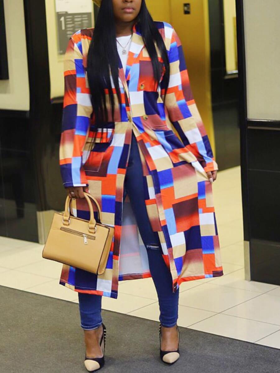 Lovely Casual Plaid Multicolor Plus Size Coat