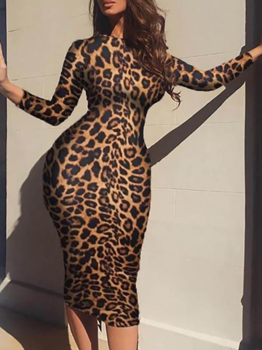 Lovelywholesale coupon: LW Stylish O Neck Leopard Print Knee Length Dress