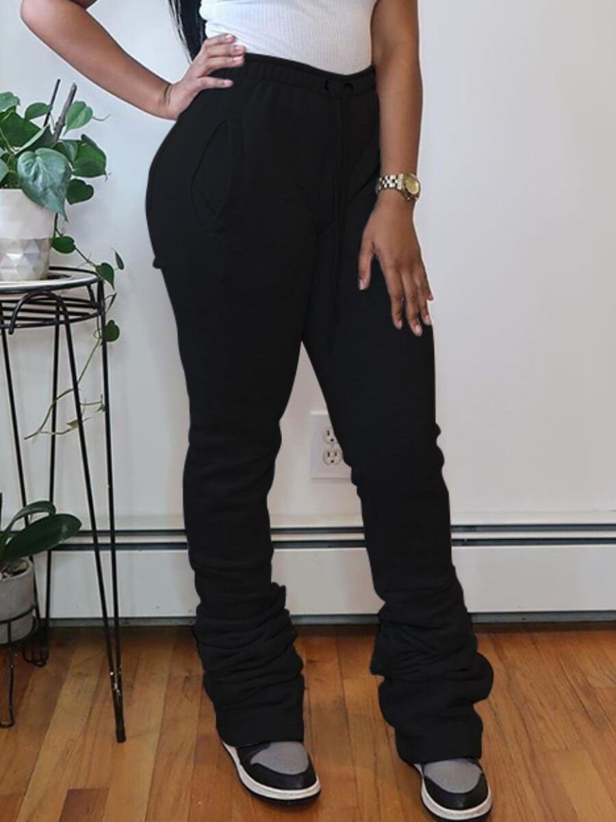 lovelywholesale / Lovely Street Fold Design Drawstring Black Pants