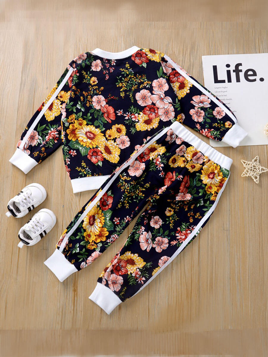 Lovely Casual O Neck Floral Print Blue Girl Two-pi