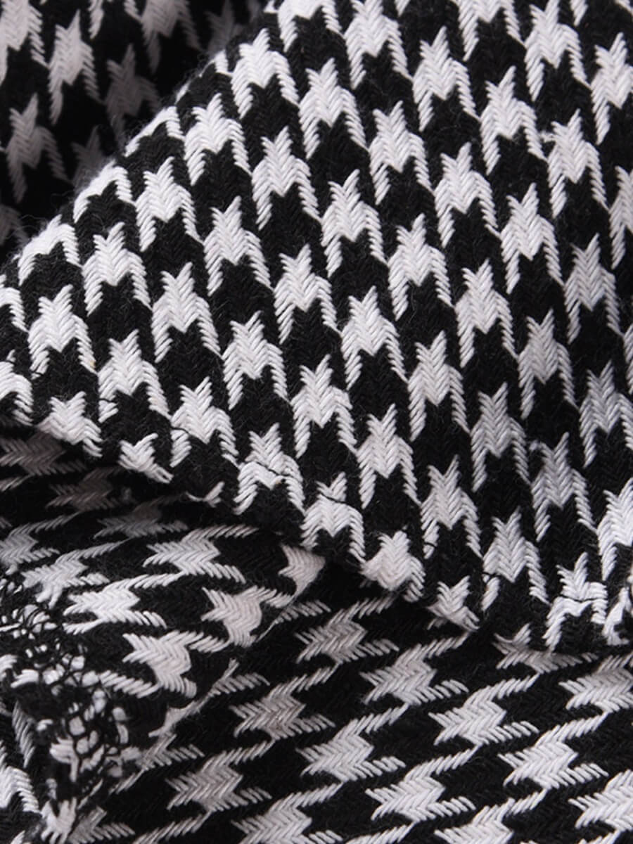 Lovely Casual Grid Print Asymmetrical Black And Wh