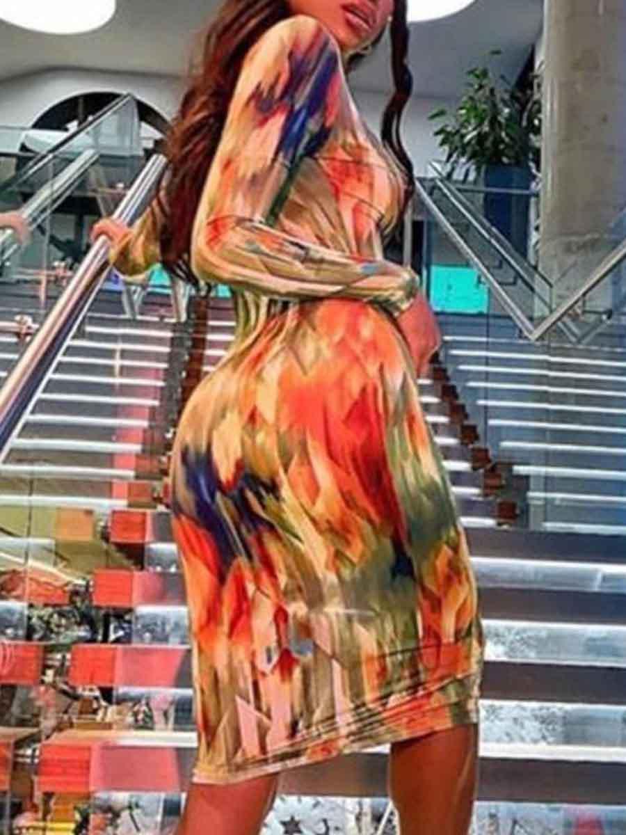 LW V Neck Tie-dye Bodycon Dress