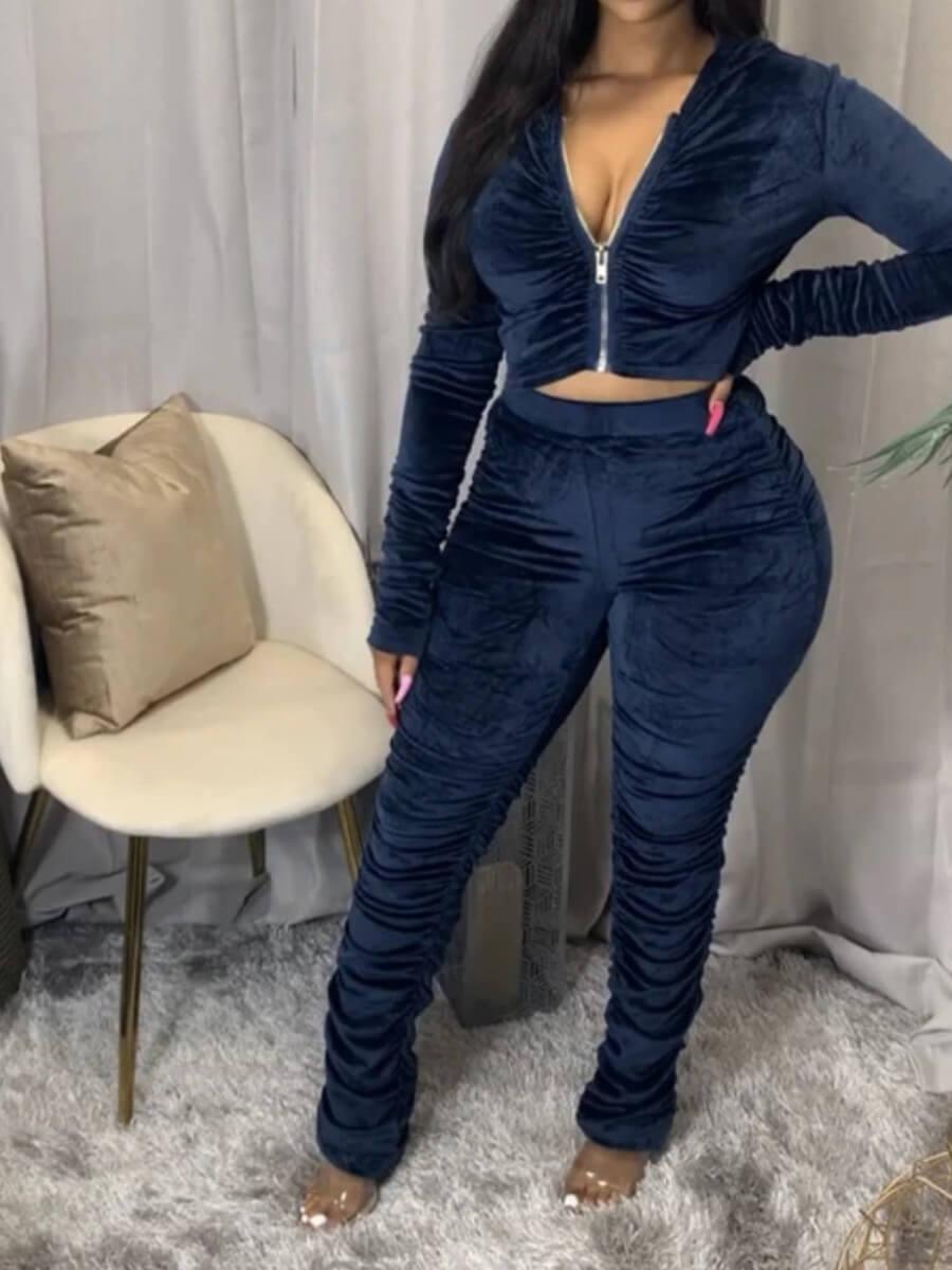 Lovely Trendy Fold Design Zipper Design Deep Blue