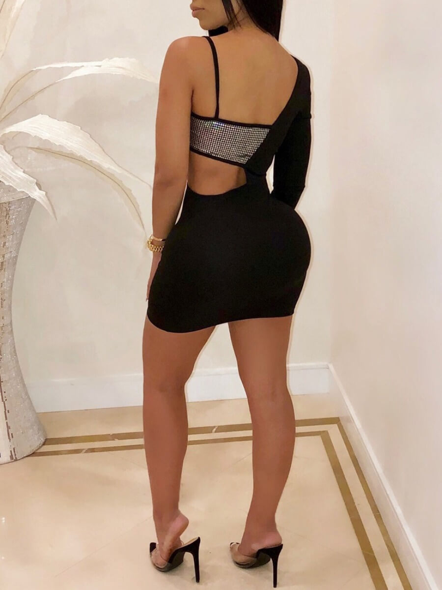 Lovely Sexy One Shoulder Patchwork Black Mini Dres
