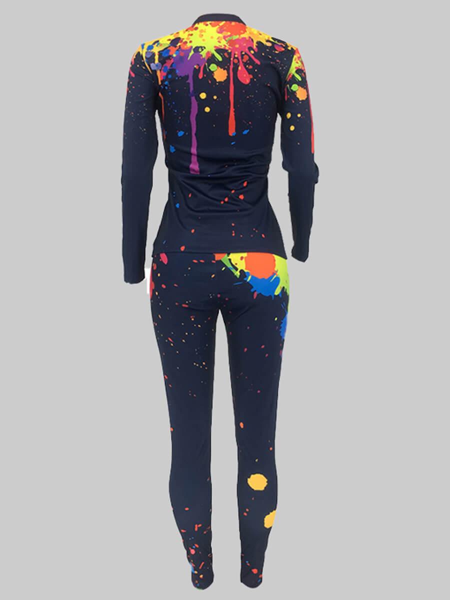 Lovely Casual Graffiti Print Zipper Design Black Plus Size Two-piece Pants Set
