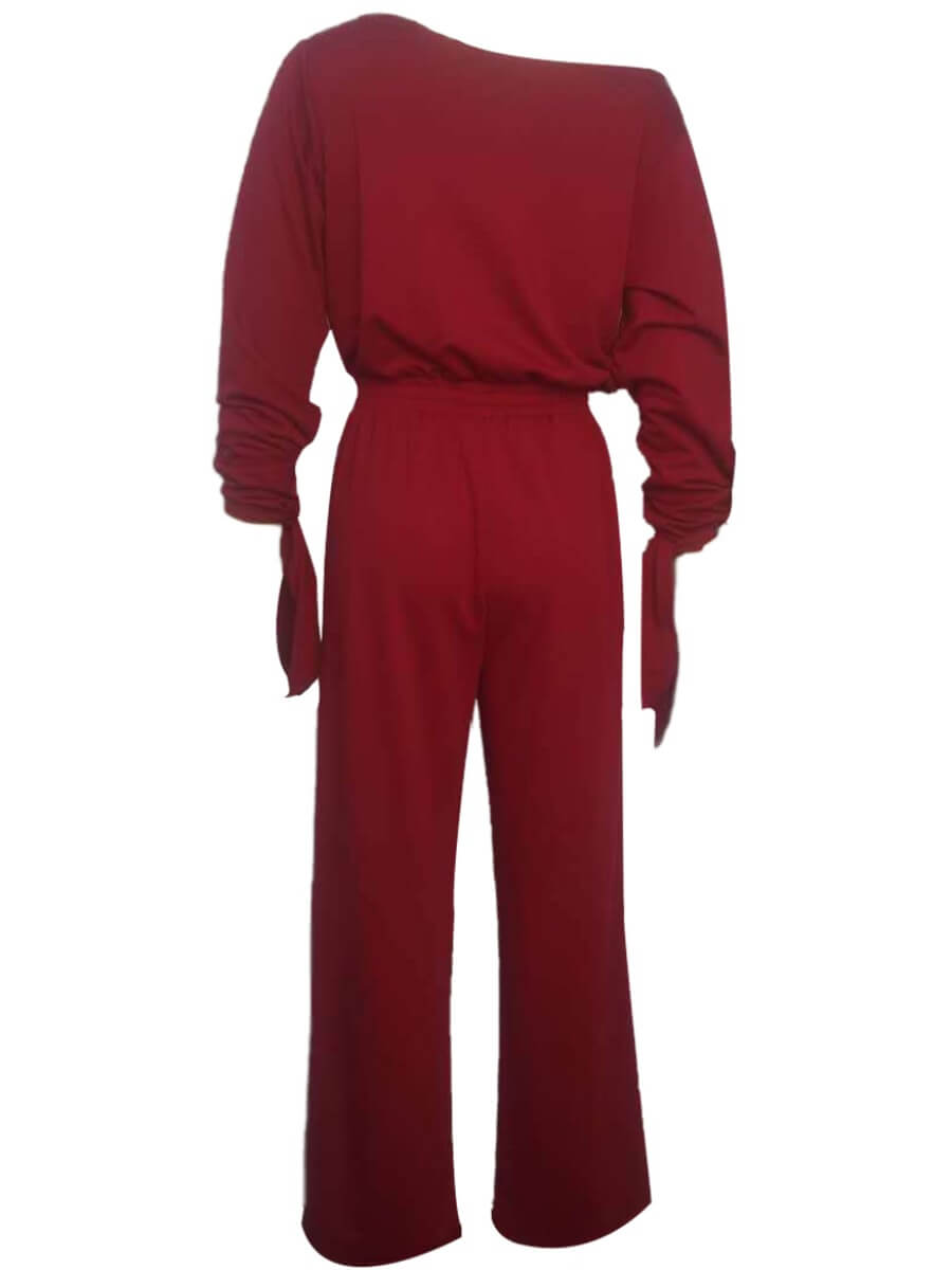 Lovely Leisure Drawstring Loose Wine Red One-piece