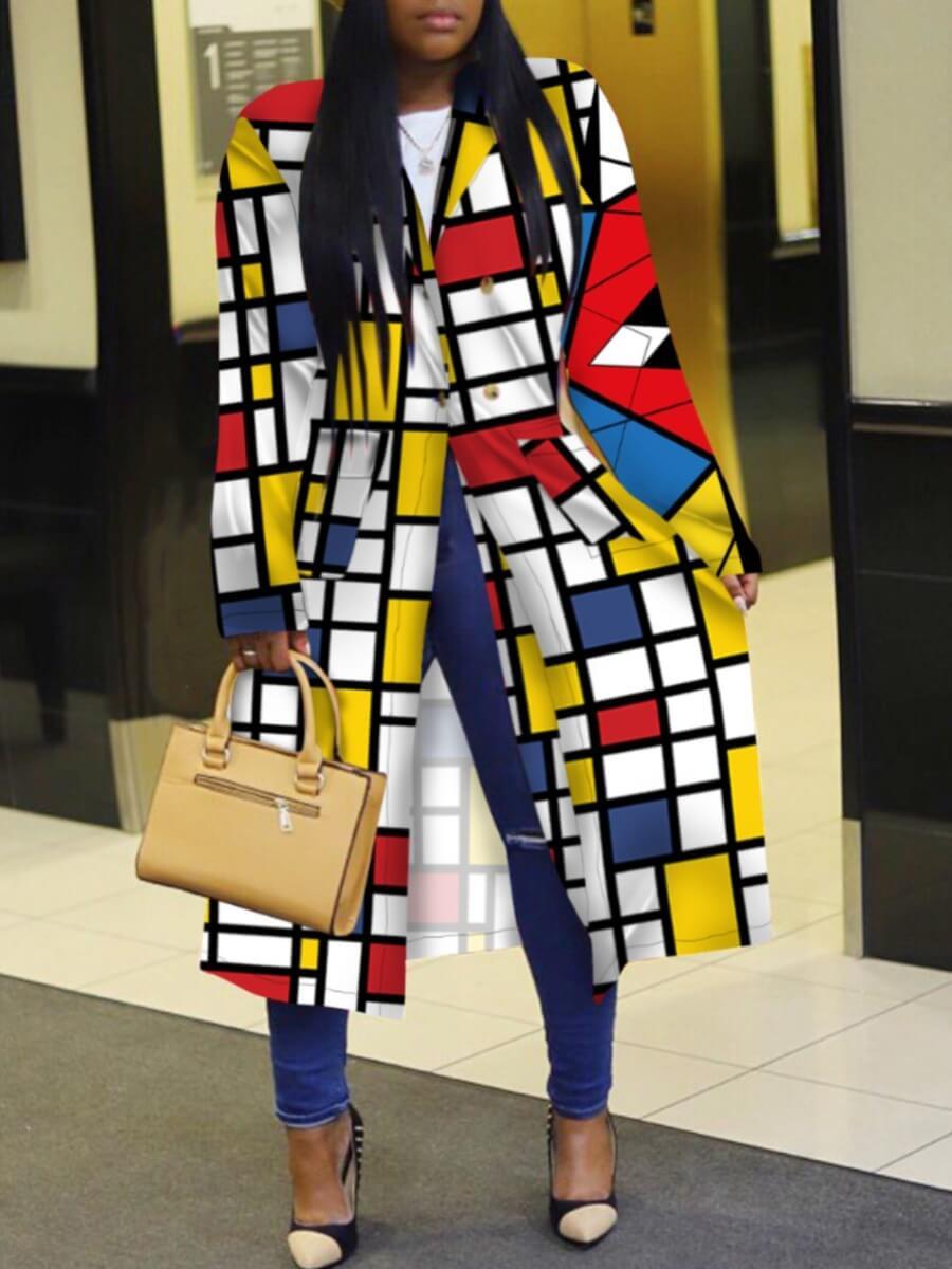 Lovely Stylish Turndown Collar Print Multicolor Long Plus Size Coat