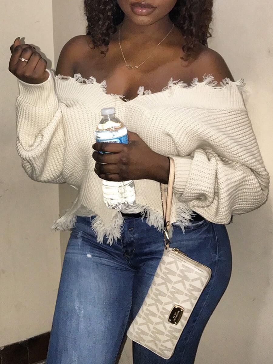 Lovely Casual V Neck Tassel Design White Sweater