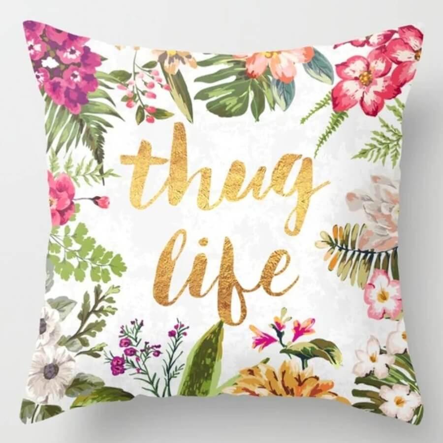 lovely Trendy Plants Print Multicolor Decorative Pillow Case